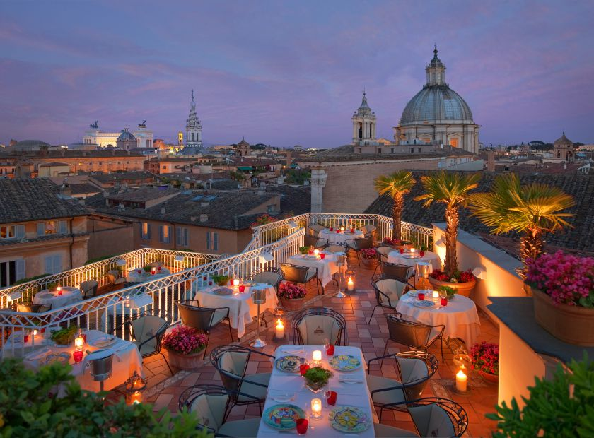 Biohotel Raphael: Abendstimmung auf der Dachterrasse - Hotel Raphaël, Rom, Latium, Italien