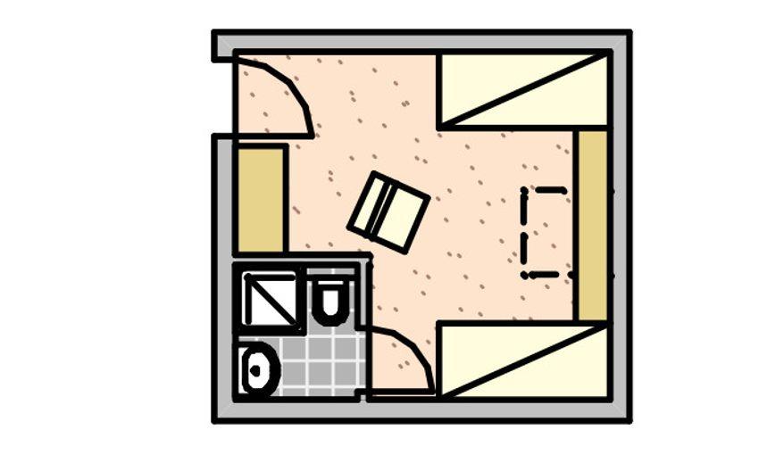 Einzelzimmer Typ Saisen im Haupthaus