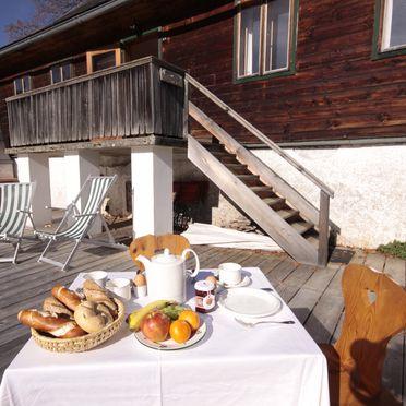 Terrasse, Hütte Weikhardt, Tauplitz, Steiermark, Steiermark, Österreich