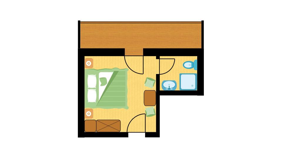 Raumplan Doppelzimmer Finkennest im Hotel Central