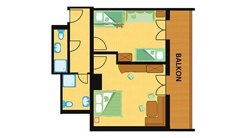 Raumplan Familien Apartment Straussennest im Hotel Central