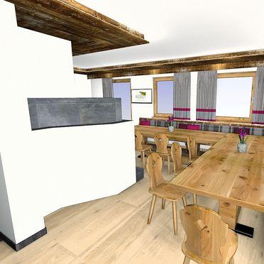 Bachgut Berg Chalet, Wohnraum/Esstisch mit Kachelofen
