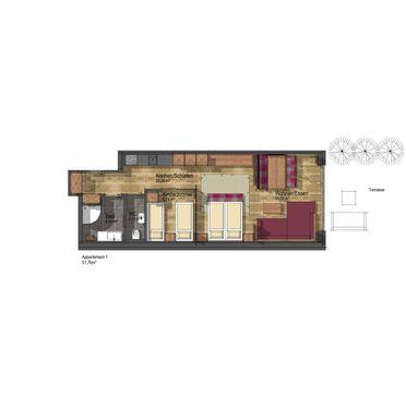Grundrissplan, Appartement Dolomiten in Sölden, Tirol, Tirol, Österreich