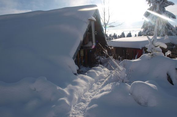 Winter, Holzfäller Hütte in La Rosiere - Vogesen, Vogesen, Elsass, Frankreich