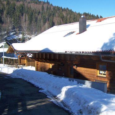 Außen Winter 16, Ferienhütte Schachtenbach im Bayerischen Wald, Bayerisch Eisenstein, Bayerischer Wald, Bayern, Deutschland