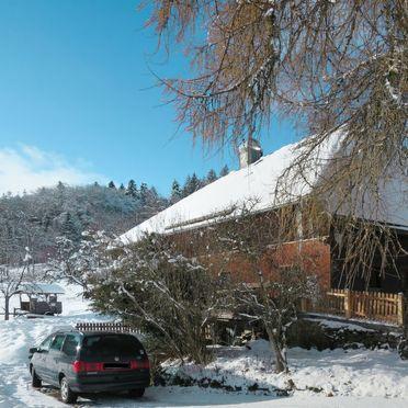 Außen Winter 24, Schwarzwaldhütte Bistenhof, Hinterzarten, Schwarzwald, Baden-Württemberg, Deutschland