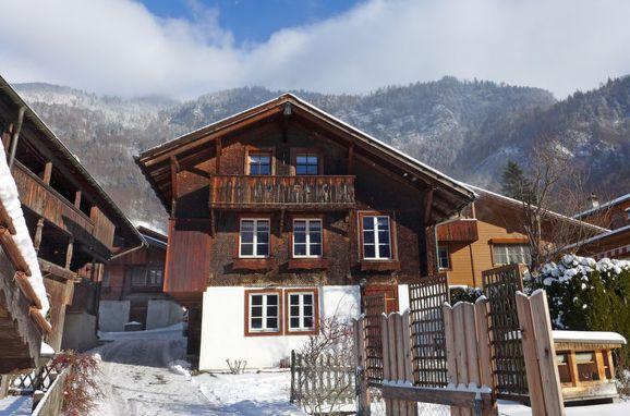 Außen Winter 20 - Hauptbild, Ferienchalet Hüsli, Brienzwiler, Berner Oberland, Bern, Schweiz